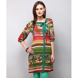 Yepme Multicolor Polyester Striped Casual Kurti