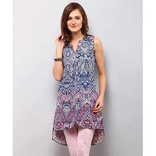 Yepme Blue Cotton Printed Casual Kurti