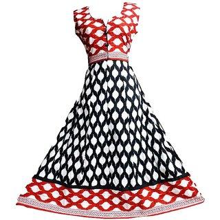 B.Z.Fashions Jaipuri Umbrella Kurti for Women-Black and Red Colour