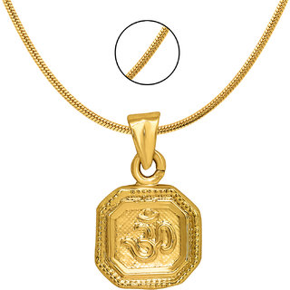 Mahi Exa Collection Divine Om Gold Plated Religious God Pendant with Chain for Men  Women PS6012019G