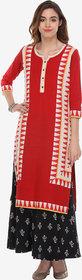 Varanga Red Cotton Printed Kurta With Palazzo