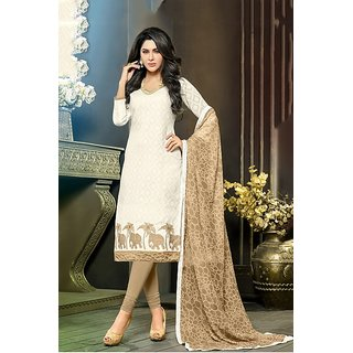 Sareemall White Jacquard Embroidered Salwar Suit Dress Material