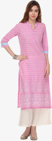 Varanga Pink Cotton Printed Kurta With Palazzo