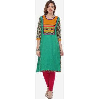 Varanga Green Printed Rayon Stitched Kurti