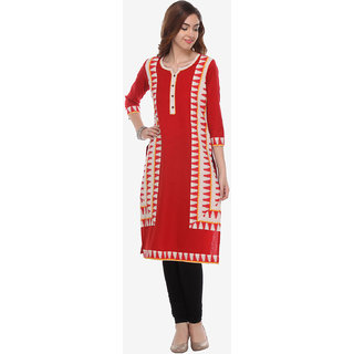 Varanga Red Cotton Printed Straight Kurta