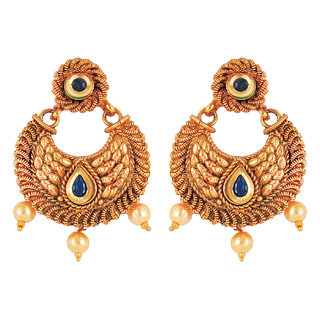 Om Jewells Traditional Ethnic Green Pearl Bali Earrings with Crystals stones for Women ER1000021