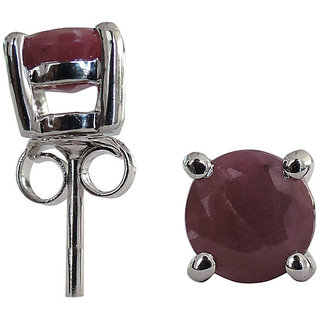 2.56 CTS, 6mm Round Shape Genuine Ruby .925 Sterling Silver Earrings