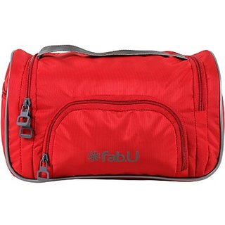 Fab.U Red Polyester Vanity Kit With Mirror Travel Toiletry Kit(Red)