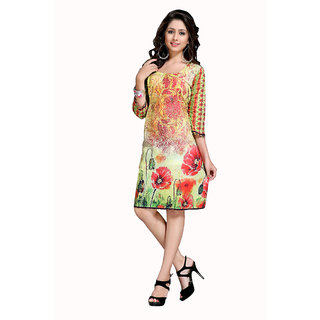 The Ethnic Chic Yellow Color Cotton Kurti