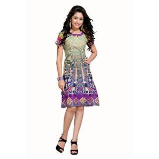 The Ethnic Nice Chic Green  Purple Color Cotton Kurti