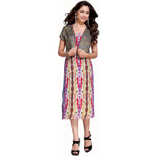 The Ethnic Chic Off White, Red, Beige  Purple Color Cotton Kurti