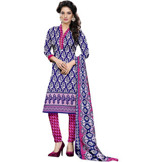 The Ethnic Chic Violet  Pink Colored Cotton Suit
