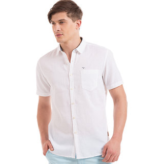 Flying Machine White  Half Sleeve Mens Casual Shirts