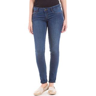 Blue Regular Fit Mid Waist Womens Jeans