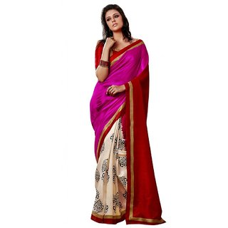 Triveni Cream Bhagalpuri Silk Printed Saree With Blouse