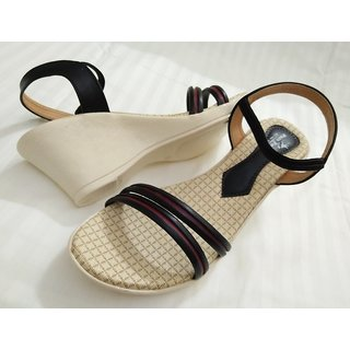 Stylish Beige  Black Sandals For Women