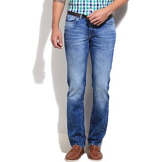 Three by four Slim Fit Fit Mens Blue Jeans