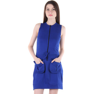 Vvoguish Blue Plain Belted Dress For Women