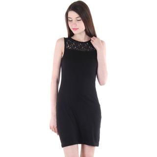 Vvoguish Black Plain A Line Dress For Women