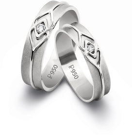 RM Jewellers CZ 92.5 Sterling Silver American Diamond Lovely Promise Couple Band For Men and Women