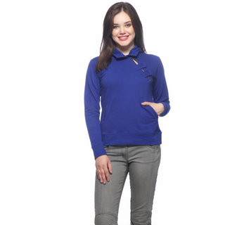 Vvoguish Blue Fleece Solid Sweatshirt