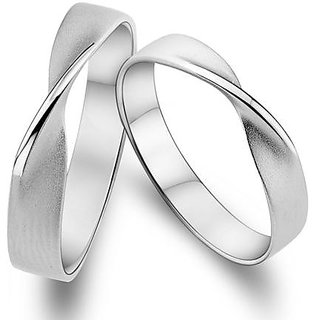 RM Jewellers 92.5 Sterling Silver American Best Lovely Promise Couple Band For Men and Women