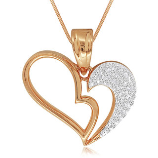 Spargz Heart Design Gold Plated Studded Pendant AIP 107