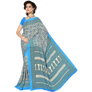 The Ethnic Chic Sky  Cream Colored Weightless Saree