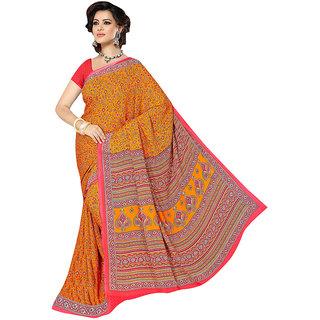 The Ethnic Chic Orange Colored Weightless Saree