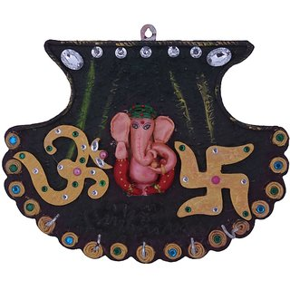 Craft Art India Brown Wall Hanging Fan Shape Ganesha With Key Holder / Hanger Handcrafted Cai-Hd-0059