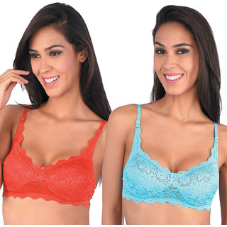 Bralux Multicolor Lace Wirefree Non- Padded Bra (Set Of 2)
