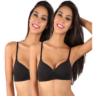 3f5b44efe722b Buy Bralux Black Cotton Wirefree Padded Bra (Set Of 2) Online - Get ...
