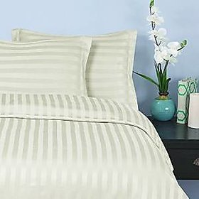 ItalianHome Collections 3Pc Duvet Set 500 Thread Count King 100 Pima Cotton Ivory Stripe By Hothaat