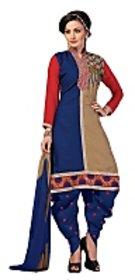 Golden girl blue cream color unstiched cottan dress material