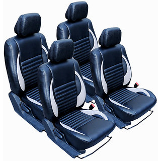 Craze City Leatherite BlackIvory Wave5 Steering Cover