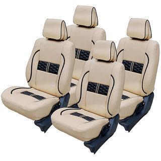 Craze EtiosCross Leatherite BeigeBlack Wave18 Steering Cover