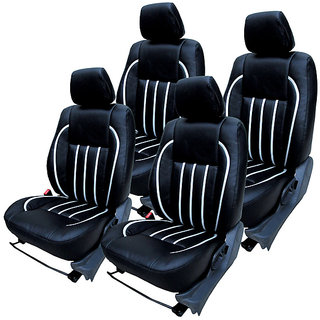 Craze Rapid Leatherite BlackSilver Wave4 Steering Cover