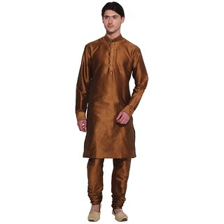 Arose Fashion Copper Brown Silk Kurta Pajama Set