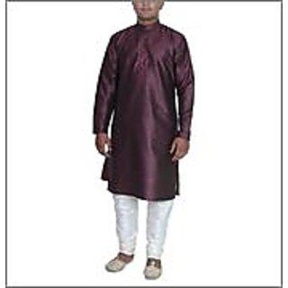 Arose Fashion  Purple Silk Kurta Pajama Set