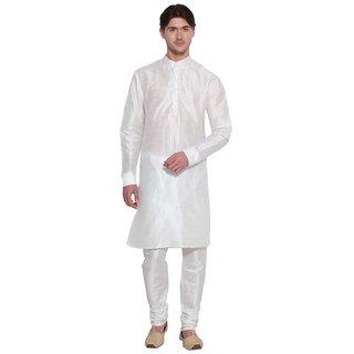 Arose Fashion White Silk Kurta Pajama Set