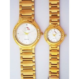 Bromstad Analog IPG Gold Plating Couple Watch 643 P-W With Gift Box