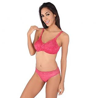 1b1fd9cbc1 Buy Bralux Camy Pink Lace Bra And Panty Set Online - Get 66% Off