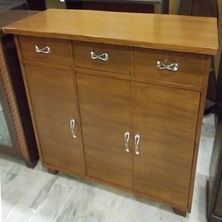 Sanfur 3 Door Teak Crockery Cabinet