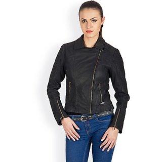 Justanned Full Sleeve Solid Womens Leather Jacket JacketJTJW022-2Black