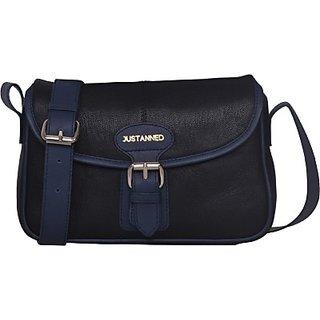Justanned Women Casual Black Genuine Leather Sling BagJTWB 108-1
