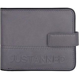 Justanned Men Casual Grey Genuine Leather Wallet         (3 Card Slots)JTMW 095-7