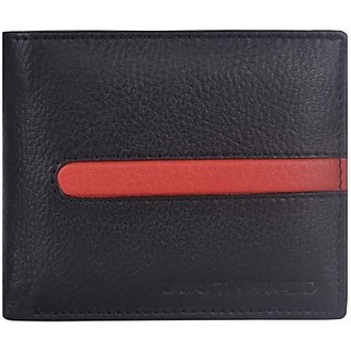 Justanned Men Casual Black Genuine Leather Wallet         (8 Card Slots)JTMW 103-1