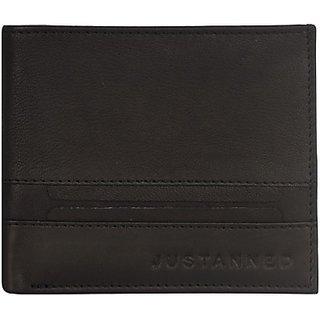 Justanned Men Formal Black Genuine Leather Wallet         (6 Card Slots)MW08