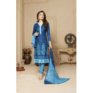 THANKAR Blue  Sky Embroidered Glace Cotton Dress Material (Unstitched)