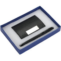 S-16 Black Twisted Ball Pen  Black Card holder with Silver Finish Pen Gift Set